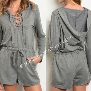 Pants - 🆕 JULIE- Heather Grey Hooded Sweater Romper
